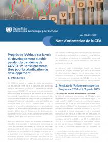 Progrès de l'Afrique sur la voie du développement durable pendant la pandémie de COVID-19 : enseignements tirés pour la planification du développement