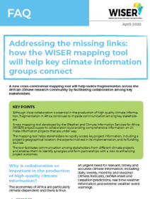 Addressing the missing links: how the WISER mapping tool will help key climate information groups connect